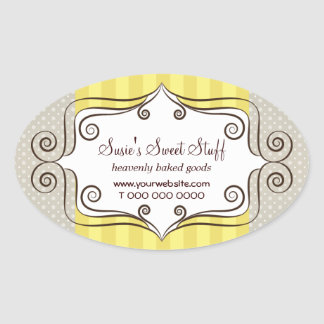 Sweet Yellow and Polka Dots Oval Sticker