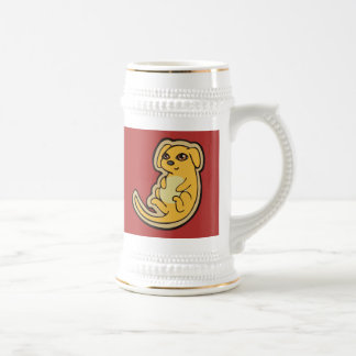 Sweet Yellow And Red Puppy Dog Drawing Design 18 Oz Beer Stein