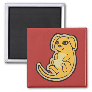 Sweet Yellow And Red Puppy Dog Drawing Design 2 Inch Square Magnet