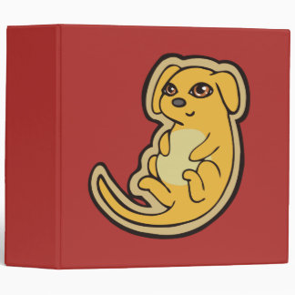 Sweet Yellow And Red Puppy Dog Drawing Design 3 Ring Binder