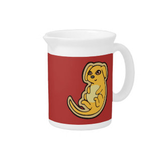 Sweet Yellow And Red Puppy Dog Drawing Design Beverage Pitcher