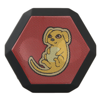 Sweet Yellow And Red Puppy Dog Drawing Design Black Bluetooth Speaker