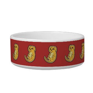 Sweet Yellow And Red Puppy Dog Drawing Design Bowl