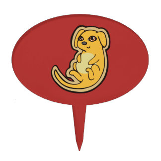 Sweet Yellow And Red Puppy Dog Drawing Design Cake Topper