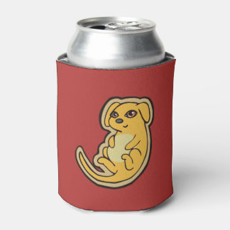 Sweet Yellow And Red Puppy Dog Drawing Design Can Cooler