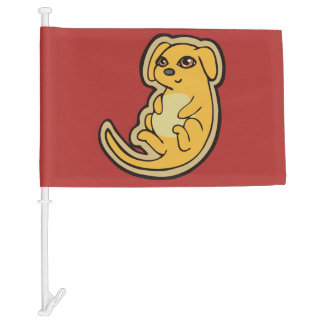 Sweet Yellow And Red Puppy Dog Drawing Design Car Flag