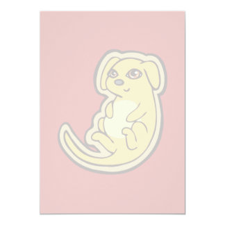 Sweet Yellow And Red Puppy Dog Drawing Design Card