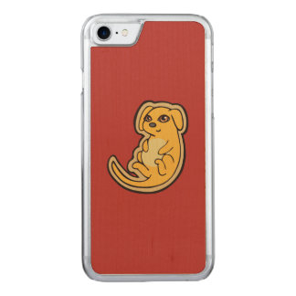 Sweet Yellow And Red Puppy Dog Drawing Design Carved iPhone 7 Case