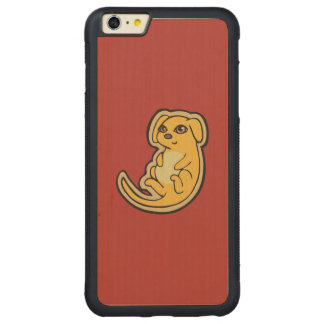 Sweet Yellow And Red Puppy Dog Drawing Design Carved Maple iPhone 6 Plus Bumper Case