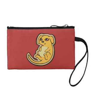 Sweet Yellow And Red Puppy Dog Drawing Design Coin Purse