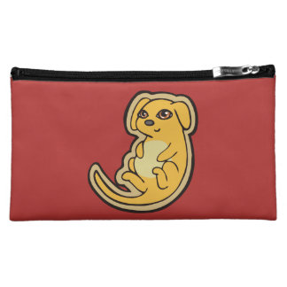 Sweet Yellow And Red Puppy Dog Drawing Design Cosmetic Bag