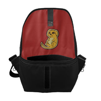 Sweet Yellow And Red Puppy Dog Drawing Design Courier Bag