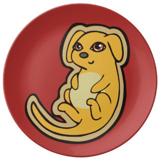 Sweet Yellow And Red Puppy Dog Drawing Design Dinner Plate