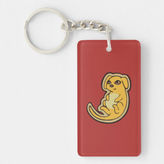Sweet Yellow And Red Puppy Dog Drawing Design Double-Sided Rectangular Acrylic Keychain