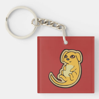 Sweet Yellow And Red Puppy Dog Drawing Design Double-Sided Square Acrylic Keychain