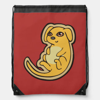 Sweet Yellow And Red Puppy Dog Drawing Design Drawstring Backpack