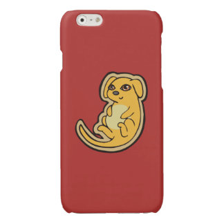 Sweet Yellow And Red Puppy Dog Drawing Design Glossy iPhone 6 Case