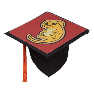 Sweet Yellow And Red Puppy Dog Drawing Design Graduation Cap Topper