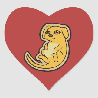 Sweet Yellow And Red Puppy Dog Drawing Design Heart Sticker