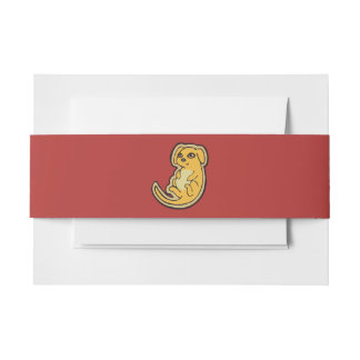 Sweet Yellow And Red Puppy Dog Drawing Design Invitation Belly Band