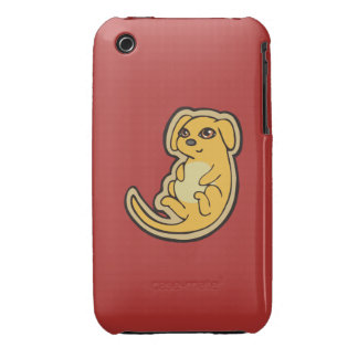 Sweet Yellow And Red Puppy Dog Drawing Design iPhone 3 Case