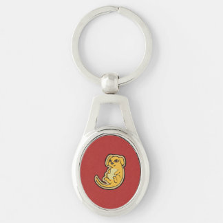 Sweet Yellow And Red Puppy Dog Drawing Design Keychain