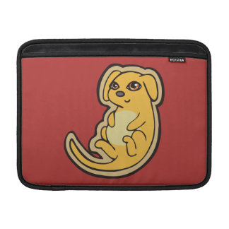 Sweet Yellow And Red Puppy Dog Drawing Design MacBook Sleeves