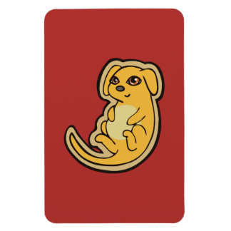 Sweet Yellow And Red Puppy Dog Drawing Design Magnet