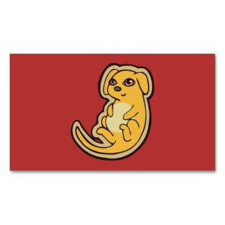 Sweet Yellow And Red Puppy Dog Drawing Design Magnetic Business Card