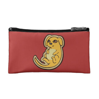Sweet Yellow And Red Puppy Dog Drawing Design Makeup Bag