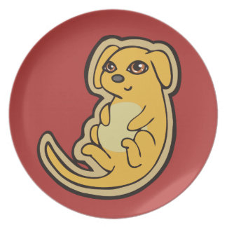 Sweet Yellow And Red Puppy Dog Drawing Design Melamine Plate