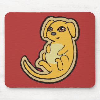 Sweet Yellow And Red Puppy Dog Drawing Design Mouse Pad
