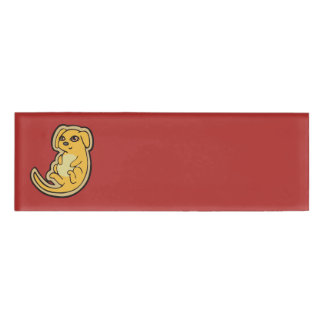 Sweet Yellow And Red Puppy Dog Drawing Design Name Tag