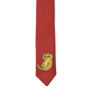 Sweet Yellow And Red Puppy Dog Drawing Design Necktie