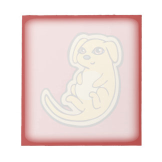 Sweet Yellow And Red Puppy Dog Drawing Design Note Pad