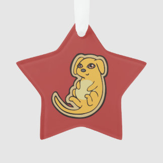 Sweet Yellow And Red Puppy Dog Drawing Design Ornament