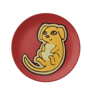 Sweet Yellow And Red Puppy Dog Drawing Design Plate