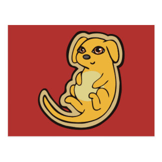 Sweet Yellow And Red Puppy Dog Drawing Design Postcard
