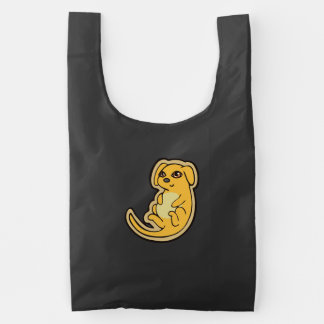 Sweet Yellow And Red Puppy Dog Drawing Design Reusable Bag