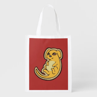 Sweet Yellow And Red Puppy Dog Drawing Design Reusable Grocery Bag