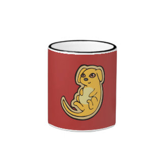 Sweet Yellow And Red Puppy Dog Drawing Design Ringer Coffee Mug