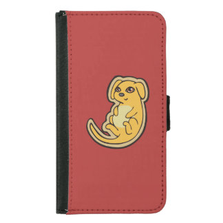 Sweet Yellow And Red Puppy Dog Drawing Design Samsung Galaxy S5 Wallet Case
