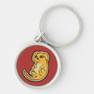 Sweet Yellow And Red Puppy Dog Drawing Design Silver-Colored Round Keychain