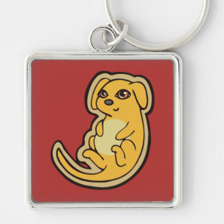 Sweet Yellow And Red Puppy Dog Drawing Design Silver-Colored Square Keychain