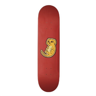Sweet Yellow And Red Puppy Dog Drawing Design Skateboard Deck