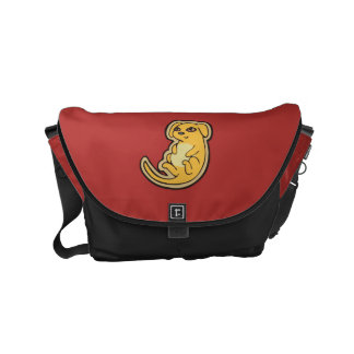 Sweet Yellow And Red Puppy Dog Drawing Design Small Messenger Bag