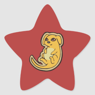 Sweet Yellow And Red Puppy Dog Drawing Design Star Sticker