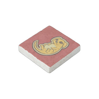 Sweet Yellow And Red Puppy Dog Drawing Design Stone Magnet