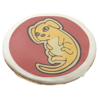 Sweet Yellow And Red Puppy Dog Drawing Design Sugar Cookie