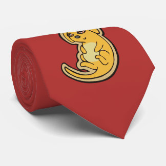 Sweet Yellow And Red Puppy Dog Drawing Design Tie